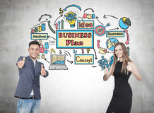 Duim op partners, businessplan Stock Foto's