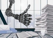 duim op robot in een bureau vector illustratie
