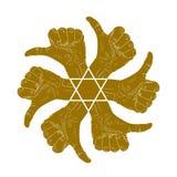 Duim zes op handtekens in rond abstract symbool met hexagonaal stock illustratie