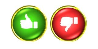 Duimen boven en beneden gouden knopen als afkeer rode groen Royalty-vrije Stock Afbeelding