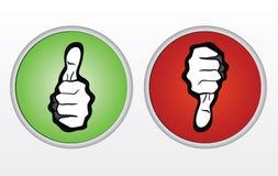Duimen omhoog en duimen onderaan pictogrammen royalty-vrije stock foto