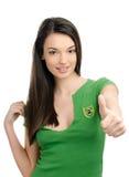 Duimen omhoog voor Brazilië. Stock Foto's