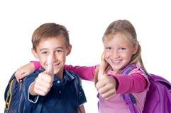 Duimen omhoog voor school! Stock Foto
