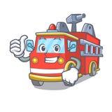 Duimen op het karakterbeeldverhaal van de brandvrachtwagen vector illustratie