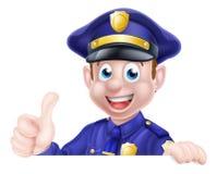 Duimen op het Teken van de Politiemens Royalty-vrije Stock Afbeelding