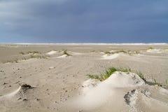 Duin die zich op een stormachtig strand vormen Stock Foto