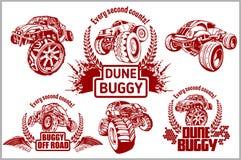 Duin met fouten en monstervrachtwagen - vectorkenteken royalty-vrije illustratie