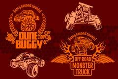 Duin met fouten en monstervrachtwagen - vectorkenteken stock illustratie