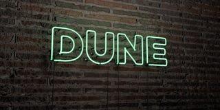 DUIN - Realistisch Neonteken op Bakstenen muurachtergrond - 3D teruggegeven royalty vrij voorraadbeeld royalty-vrije illustratie