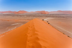 Duin 45 in sossusvlei Namibië, mening vanaf de bovenkant van een Duin 45 in sossusvlei Namibië, mening vanaf de bovenkant van een Royalty-vrije Stock Afbeelding