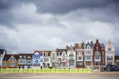 Duinkerke - Malo Les Bains, strandtoevlucht van Dunkirk Nord Pas-de-Calais, Frankrijk stock foto's