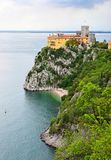Duino Castle on the rock, Trieste, Italy. In summer time stock photos