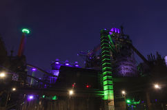 Duisburg, Γερμανία - 17 Μαΐου 2015: Landschaftspark που φωτίζεται Στοκ εικόνα με δικαίωμα ελεύθερης χρήσης