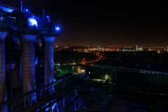 Duisburg. The landschaftspark nord near by duisburg at night Stock Photos