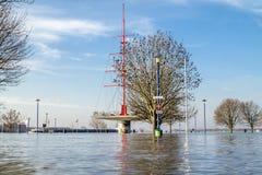 Duisburg, Duitsland - Januari 08 2017: De rivier Rijn overstroomt Muehlenweide Stock Afbeelding