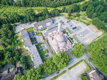 DUISBURG GERMANY - JULY 22 2016 : One of the biggest mosques in Germany under the sun, aerial Royalty Free Stock Photos