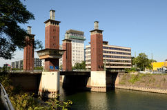Duisburg Inner Harbour -Moving bridge Stock Photography