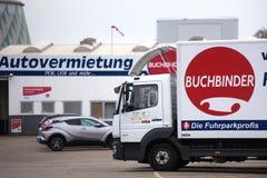 Duisburg, North Rhine Westphalia/germany - 22 11 18: buchbinder rent a car sign in duisburg germany royalty free stock image