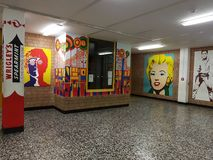 Corridor walls of the school. DUISBURG, NRW, GERMANY - 9 Sep. 2017 The corridor walls of the comprehensive school Sued on Saturday morning Stock Images
