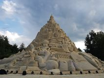 Highest in the world sandcastle 16,68 meters in 2017. DUISBURG, NRW, GERMANY - 2 Sep. 2017 Guinness record. Highest in the world sandcastle 16,68 meters in the Stock Photo