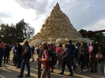 Highest in the world sandcastle 16,68 meters in 2017. DUISBURG, NRW, GERMANY - 2 Sep. 2017 Guinness record. Highest in the world sandcastle 16,68 meters in the Royalty Free Stock Image