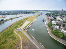 Duisburg Ruhrort aerial Royalty Free Stock Photos