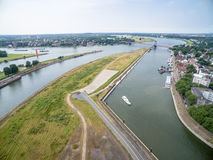 Duisburg Ruhrort aerial Royalty Free Stock Photography