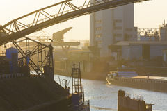 duisburg Tyskland inre hamn arkivbild