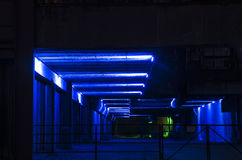 Duisburgo, Alemania - 17 de mayo de 2015: Landschaftspark iluminó Foto de archivo