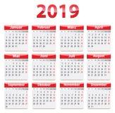 2019 Duits kalender rood glanzend ontwerp stock illustratie