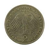 Duits Mark 2 muntstuk 1969 omgekeerde stock fotografie