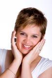 Duits Meisje met handen op gezicht Stock Afbeelding