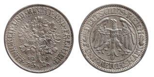 Duits zilveren muntstuk 5 van Duitsland Republiek van Weimar van de vijf teken de eiken boom royalty-vrije stock foto
