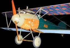 Duitse Albatros-Wereldoorlog Één geïsoleerd vechtersvliegtuig, op zwarte Stock Afbeeldingen