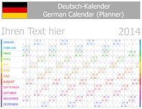 2014 Duitse Kalender ontwerper-2 met Horizontale Maanden Stock Foto