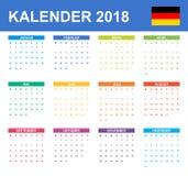 Duitse Kalender voor 2018 Planner, agenda of agendamalplaatje Het begin van de week op Maandag Royalty-vrije Stock Foto