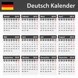 Duitse Kalender voor 2018 Planner, agenda of agendamalplaatje Het begin van de week op Maandag Stock Afbeelding