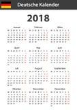Duitse Kalender voor 2018 Planner, agenda of agendamalplaatje Het begin van de week op Maandag Royalty-vrije Stock Afbeeldingen