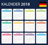 Duitse Kalender voor 2018 Planner, agenda of agendamalplaatje Het begin van de week op Maandag Stock Foto's
