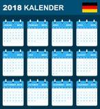 Duitse Kalender voor 2018 Planner, agenda of agendamalplaatje Het begin van de week op Maandag Royalty-vrije Stock Fotografie