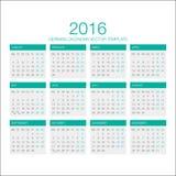 Duitse Kalendervector 2016 Stock Afbeelding