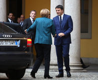 Duitse Kanselier Angela Merkel en Italiaanse Eerste minister Matte royalty-vrije stock foto's
