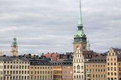 Duitse Kerk en de Bouwvoorgevels, Oude Stad; Stockholm Royalty-vrije Stock Foto