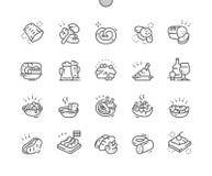 Duitse keuken goed-Bewerkte Pictogrammen 30 van de Pixel Perfecte Vector Dunne Lijn 2x Net voor Webgrafiek en Apps stock illustratie