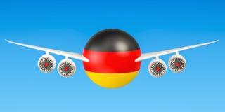 Duitse luchtvaartlijnen en flying& x27; s, vluchten aan het concept van Duitsland 3d ren Stock Afbeeldingen