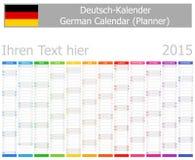 2015 Duitse Ontwerperskalender met Verticale Maanden Stock Foto's