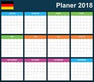 Duitse Ontwerpersspatie voor 2018 Planner, agenda of agendamalplaatje Het begin van de week op Maandag Stock Afbeelding
