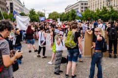 Duitse protesteerders in Parizer Platz, Berlijn, Duitsland Royalty-vrije Stock Afbeeldingen