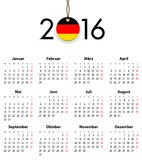 Duitse Stevige kalender voor 2016 met vlag zoals markering Stock Fotografie