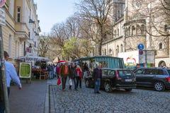 Duitse straatmarkt in St Anna vierkant Stock Fotografie